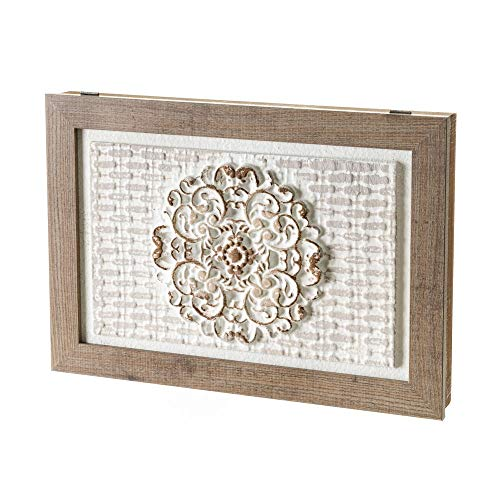 Cuadro cubrecontador Blanco y Natural con Mandala para Cajas eléctricas de 46x31 cm - LOLAhome