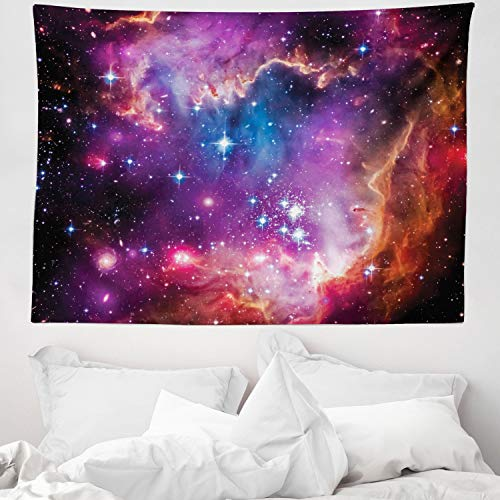 ABAKUHAUS Galaxia Tapiz de Pared y Cubrecama Suave, Constelación de Magallanes Estrellas Patrón Universo Cosmos Colorido Fantástico, Lavable Colores No Destiñen, 150 x 110 cm, Naranja