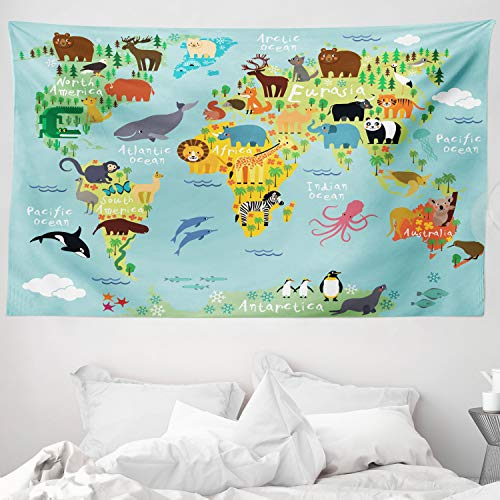 ABAKUHAUS Viajeros Tapiz de Pared y Cubrecama Suave, Animal Mapa del Mundo para Niños Dibujos Infantil Montaña Bosque, Material Resistente, 230 x 140 cm, Verde Amarillento