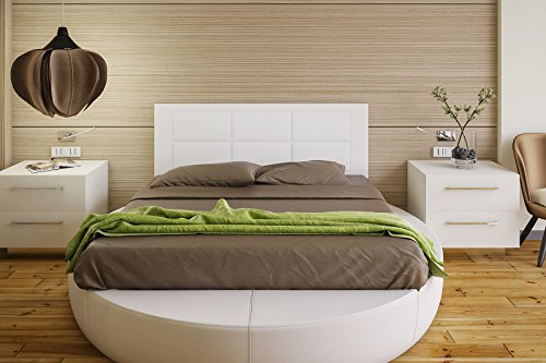 Hogar24-Cabecero Cama tapizado 155 x 55 x 3,0 cm, válido para Cama 135 y 150 cm. Color Blanco (Blanco)