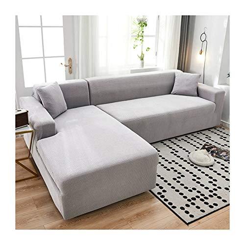 JHLD Fundas para Sillones Sofá En Forma De L, Alta Elasticidad Cubre Sofa Lavable Moda Protector para Sofás para Sala De Estar Mascota-A-Medium + Large