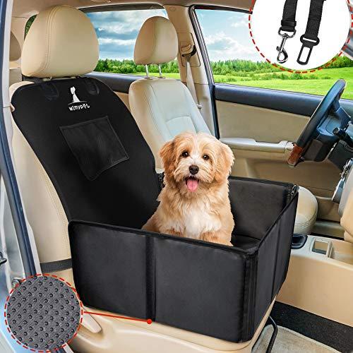 Wimypet Protector de Asiento de Coche para Mascota, Refuerzo de Coche para Perros, Asiento del Coche de Seguridad para Mascotas - 59x49x46 cm, Resistente al Agua y Duradero con Cinturón de Seguridad
