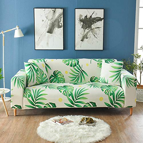 XIN NA RUI Las Hojas Verdes Imprimir Estiramiento Sofá Cover elásticos Apretados Wrap Couch Cubrir los Muebles Protector Individual Dos Tres Cuatro Asiento Funda