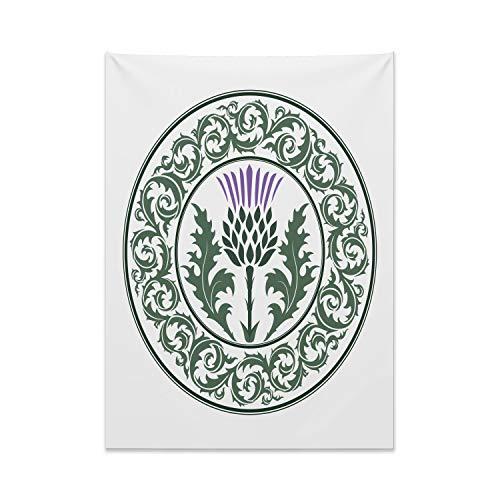 ABAKUHAUS Cardo Tapiz de Pared y Cubrecama Suave, Ornamento De La Hoja Redonda, Objeto Decorativo Lavable, 110 x 150 cm, Reseda Verde Lavanda Verde Oscuro