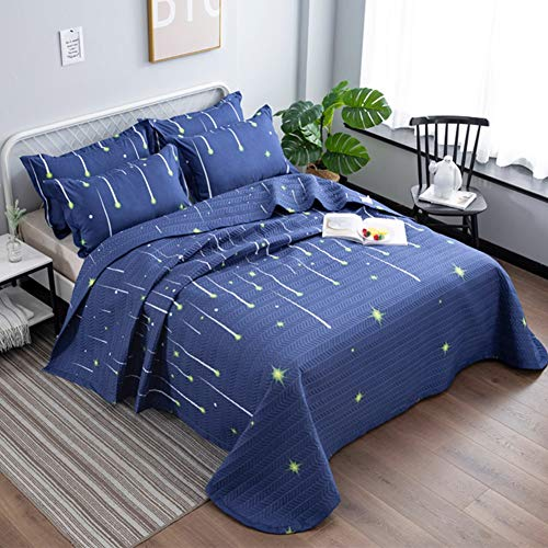 Qucover Cubrecama Verano para Cama 150,Azul Colcha Microfibra Infantil Reversible Manta con 2 Fundas de Almohada,Universo Estrellas para Cama 135