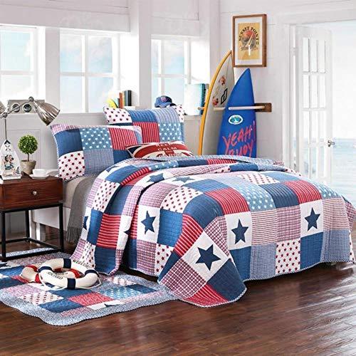 MZW Colcha Reversible de algodón con Estampado de Estrellas Coloridas para Adolescentes Chicos tamaño Queen Fundas de Almohada, Colcha, Alfombra 90X150cm