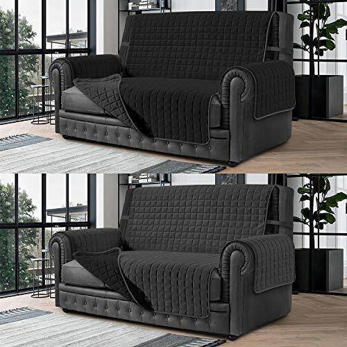 Banzaii Cubre Sofá – Funda Sofá Acolchada Reversible – 2 Plazas Gris Oscuro y Negro para Asiento de 115 a 140 cm