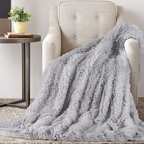 TAOCOCO Manta acogedora Manta de Piel Manta Viva Microfibra Manta de Microfibra Manta de Lana Manta de sofá Manta de Aire Acondicionado de día luz para sofá Cama (Gris, 160_x_200_cm)