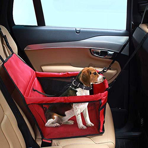 IvyLife Asiento del Coche de Seguridad para Perro y Gato Cubierta de Asiento Impermeable de Automóvil para Mascota, Funda Protector de Coche Plegable para Mascota con Cinturón de Seguridad - Rojo