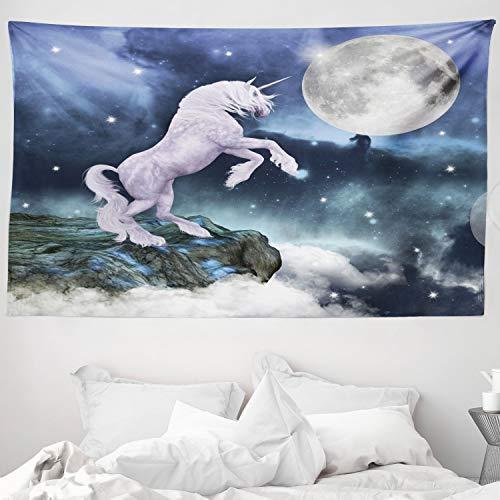ABAKUHAUS Unicornio Tapiz de Pared y Cubrecama Suave, Criatura Legendaria en Acantilado Bajo Luz de Luna Llena Cielo Arte Aerógrafo, Fácil de Lavar No Destiñe, 230 x 140 cm, Lila