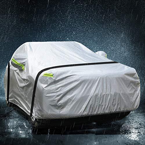 TOPOWN Funda para Coche Impermeable Funda Exterior Coche Nylon 420D 485 x 180 x 150cm Cubierta para Coche Funda Coche Mercedes BMW Citoren Kia Peugeot 308 3008 Ford Focus
