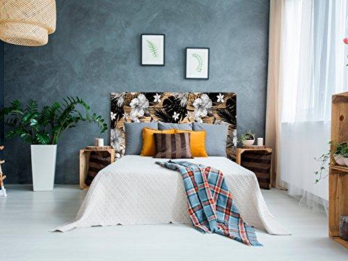 Cabecero Cama PVC Impresión Digital | Flores Blancas y Negras 150 x 60 cm | Cabecero Original y Económico