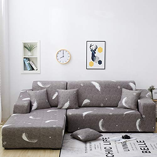 NIBESSER Fundas para Sofá Chaise Longue Fundas de Sofa Elasticas 2 Plazas Cubiertas Protector para Sofa Lavable Universal Elegante para Sala Dormitorio Hotel(Plumas Marrones,2 plazas+ 2 plazas)