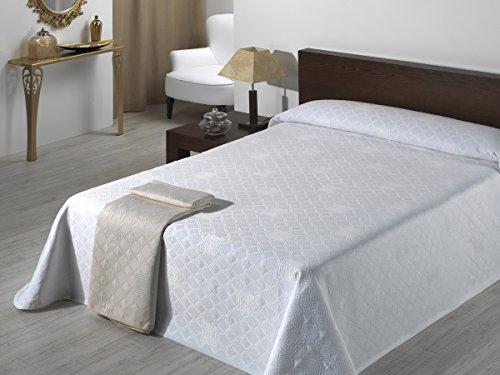 SABANALIA - Colcha de Pique Giovanna (Disponible en Varios tamaños) - Cama 150, Blanco