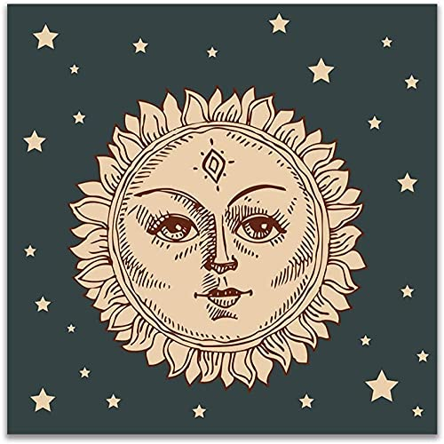 A-Generic Nordic Celestial Línea Arte Abstracto Pintura Sun Moon Stars Wall Art Canvas Tabla Vintage Constelaciones Cartel Salón Decoración en casa Plaza Imagen-40x40cm sin Marco