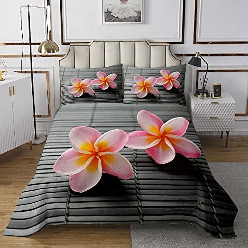 Juego de cubrecamas de spa, colcha acolchada de bambú para niños, niñas, adolescentes, personalidad, tamaño doble, con 2 fundas de almohada