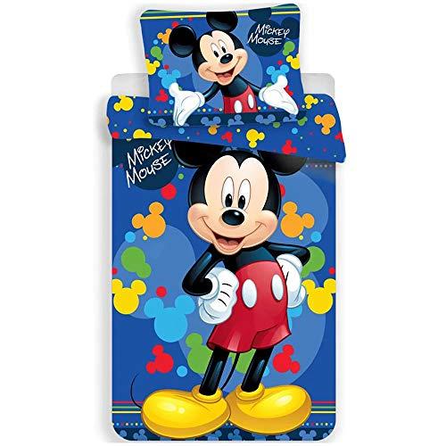 Mickey Blue - Juego de funda nórdica y funda de almohada (140 x 200 cm + 70 x 90 cm)
