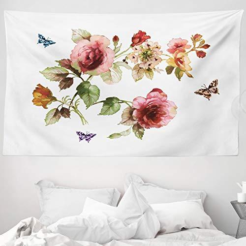 ABAKUHAUS Flor Tapiz de Pared y Cubrecama Suave, Rosas Elegantes Lamentables Brotes, No se Desliza de la Cama, 230 x 140 cm, Multicolor