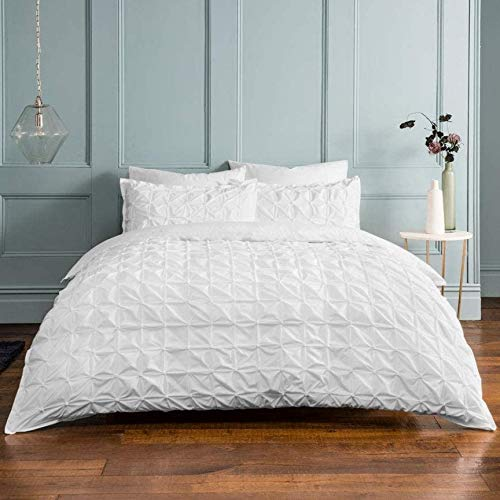 Sleepdown Rouched Pleat White Bedding Set-Single edredón y Funda de Almohada (135 x 200 cm), Color Blanco, Mezcla de algodón, Juego de Cama Individual