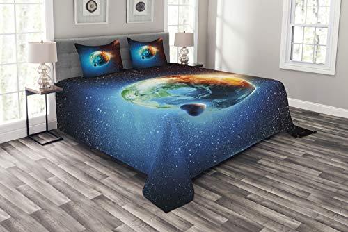 ABAKUHAUS Tierra Cubrecama, Galaxia Majestuosa Espacio Universo con Planeta Tierra Estrellas Tema Astral, Colores Firmes y Durables, 264 x 220 cm, Naranja