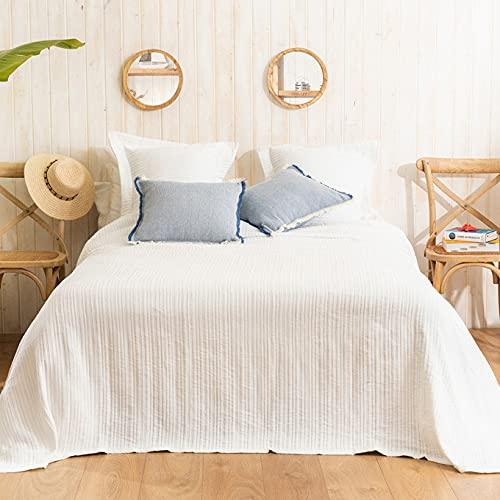 LA MALLORQUINA Colcha de Piqué - Adela (Cama 180 o 200 cm - 280x260 cm - Blanco) | Colchas de Lujo y Diseño de Algodón