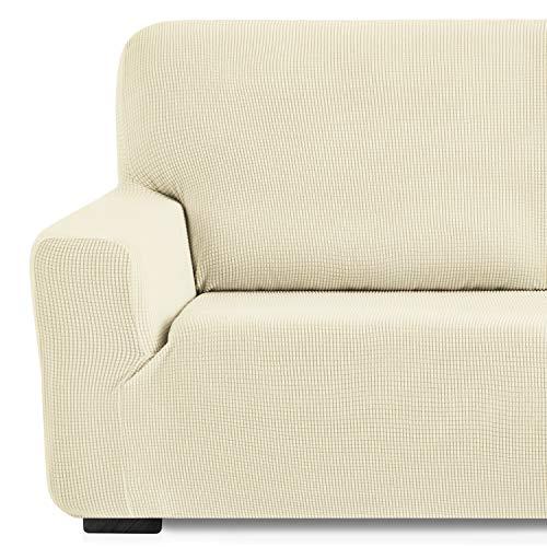 Eiffel Textile Monaco Elastica Adaptable. Funda Sofa Lisa, 94% poliéster 6% Elastano, Marfil, 4 Plazas (240-270 cm)