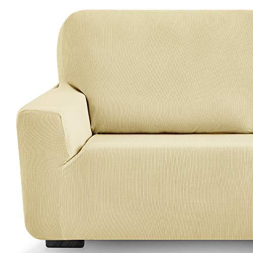 Eiffel Textile Milan Fundas para Sofa Elastica Adaptable Lisa, 94% poliéster 6% Elastano, Beige, Set 3+2 Plazas