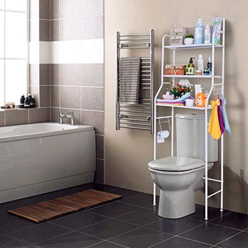 Nyana Home   Estantería de Baño sobre Inodoro   3 Alturas   Resistente a Agua y Polvo   Patas ajustables en Altura (Blanco)