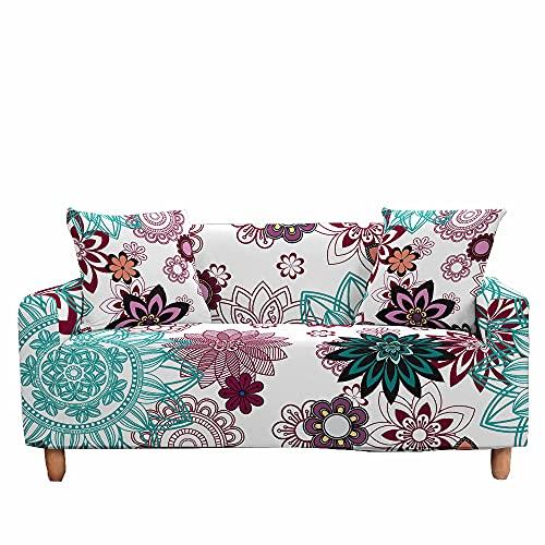Fansu Funda de Sofá Elástica para Sofá de 1 2 3 4 Plazas, Ajustable 3D Flores Vintage Estampada Cubre Sofa con 1 Funda de Cojín, Antideslizante Protector de Muebles (Lavanda,3 plazas (190-230cm))
