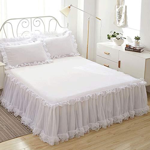 YYQQ Falda de la Cama con Volantes sábanas colchas Protector de Encaje Princesa, Protector de Colchón Cubre (Blanco 150X200CM (Color : White, Size : 150X200CM)