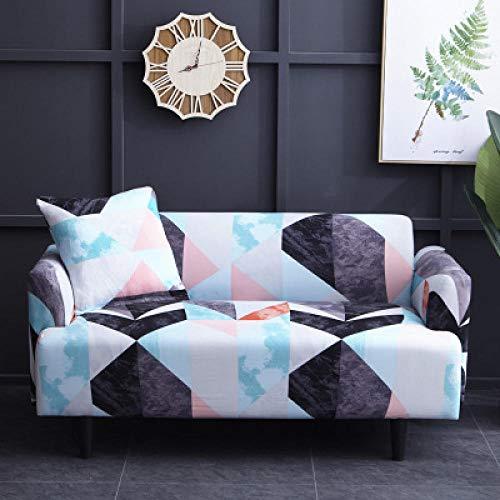 Funda Sofa 1 Plaza Patchwork Gris Azulado Fundas para Sofa con Diseño Elegante Universal,Cubre Sofa Ajustables,Fundas Sofa Elasticas,Funda de Sofa Chaise Longue,Protector Cubierta para Sofá