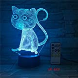 3D Cat LED Night Light USB Cargando Forma Animal lámpara de decoración de Interiores niños Night Light con Base de Madera para habitación 5 Sin Controlador