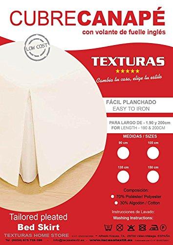 TEXTURAS HOME Cubrecanapé Loneta Fuelle Inglés Crudo Cama 135 x 190/200 cm