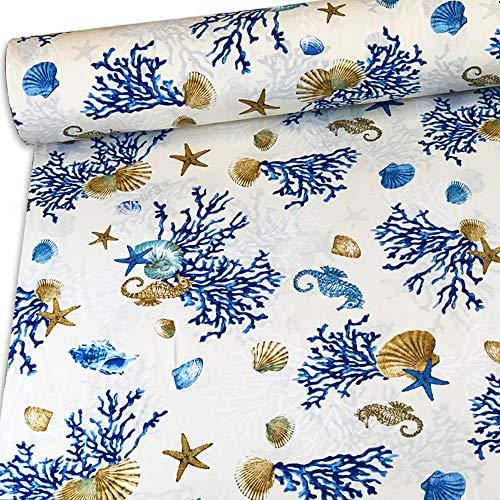 Tela de algodón al metro, tela decorativa Grandfoulard para sofá, cubrecama, foulard ligero, 250 x 280 cm, multiusos, para cubrir todo tipo de telas, sofás, tapicería, cortinas (corales azules)