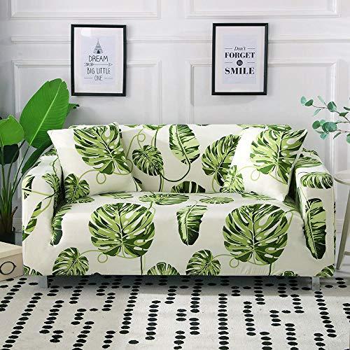 Funda Sofa 1 Plaza Hoja Verde Fundas Sofá,Universal Funda Cubre Sofas Ajustables, Antideslizante Protector Cubierta de Muebles(90-140cm)