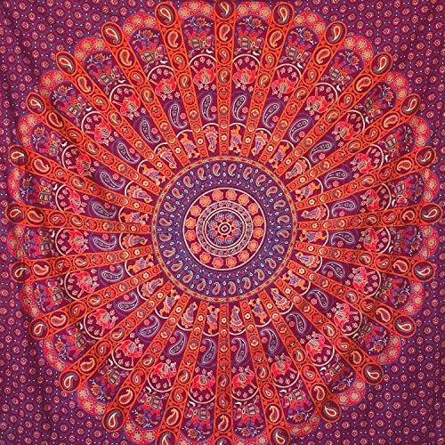 MOMOMUS Tapiz Mandala Indio - 100% Algodón, Grande, Multiuso - Colcha / Foulard / Tela Ideal como Cubre Sofá o Cubrecamas - Rojo, 210x230 cm