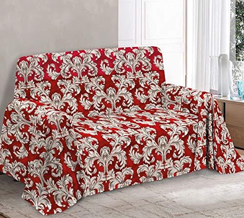 HomeLife - Tela decorativa para sofá de 2 plazas, fabricada en Italia – Sábana multiusos de algodón – Granfoulard colcha cama de matrimonio – Plaid algodón verano [260 x 280 cm, rojo]