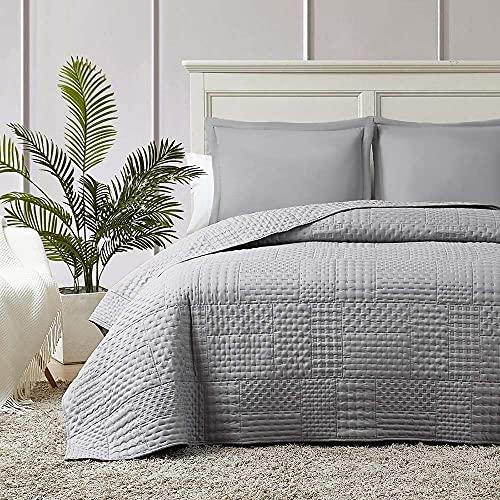 Hansleep Colcha 230x280 cm Manta Colcha Gris Colcha de Microfibra para Dormitorio Manta Acolchada Super Suave y Cómoda Adecuado para la Cama-Galletas