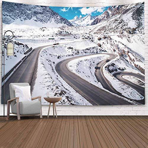 N\A Tapiz Grande, Tapiz para Colgar en la Pared Tapiz Fresco Tapiz Colorido Montañas Chile Caminos de Nieve Fondo de Invierno Tapiz de Dormitorio increíble