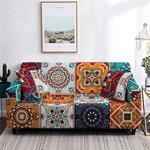 Fansu Funda de Sofá Elástica para Sofá de 1 2 3 4 Plazas, Ajustable 3D Paisley Estampada Cubre Sofa con 1 Funda de Cojín, Antideslizante Protector de Muebles (Exótico,2 plazas (145-185cm))