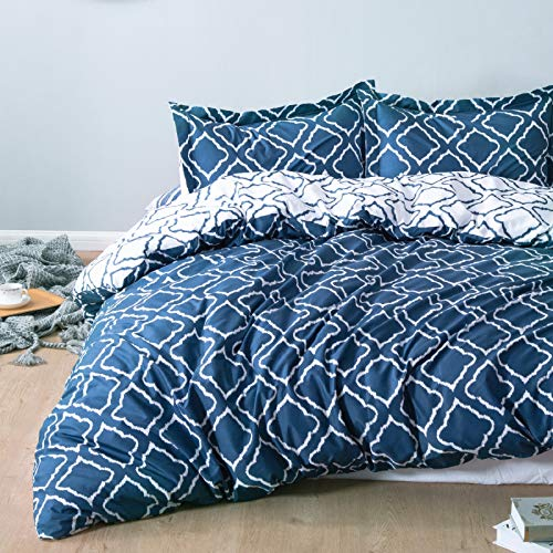 Bedsure Funda nordica Cama 150/135cm Azul Marino - Fundas edredon 230x220cm con 2 Fundas de Almohada 40x75cm 3 Piezas, Muy Suave Microfibra con patrón a Cuadros