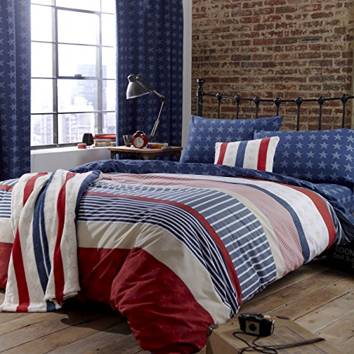 Catherine Lansfield Stars & Stripes - Funda nórdica y funda de almohada cama 90, 220 x 160 cm, color azul