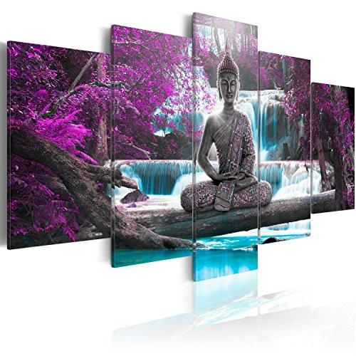 murando Cuadro en Lienzo Buda 200x100 cm Impresión de 5 Piezas Material Tejido no Tejido Impresión Artística Imagen Gráfica Decoracion de Pared Oriente Zen Cascada c-A-0021-b-o