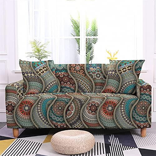 Meiju 3D Fundas de Sofá Elasticas de 1 2 3 4 Plazas, Exótica Ajustables Cubierta de Sofá Cubre Sofa Antideslizante Funda Cubre Sofas Furniture Protector (Teal Mandala,3 plazas - 190-230cm)