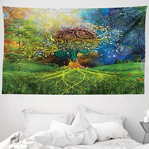ABAKUHAUS Étnico Tapiz de Pared y Cubrecama Suave, Árbol en el Valle Rama Espiralada Equilibrio Madre Tierra Arte Zen Ilustración, Resistente a la Suciedad, 230 x 140 cm, Verde