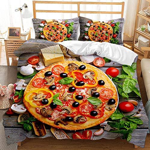 TDXX Funda nórdica Pizza Comida rápida Juego de Cama edredón Funda para niños Adolescentes cubrecamas con Funda de Almohada decoración de Dormitorio (Style 1,220×220cm-Cama135cm)