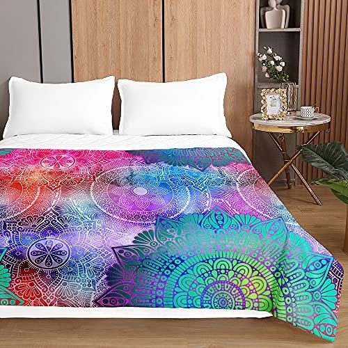 Colcha de Verano Cubrecama Colcha Bouti, Chickwin 3D Mandala Ligero Edredón Manta de Dormitorio Suave Multiuso Colchas para Cama Individual Matrimonio (Mandala Degradado Colorido,100x150cm)