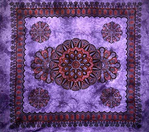 Tela decorativa cubretodo grande de crochet de 210 x 230 cm, 100 % algodón indio estampado para cubrir el sofá Gran foulard con flecos (morado)