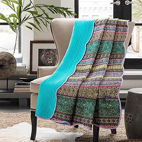 VIVILINEN Colcha Boutí Edredon Ligero Verano Colcha Reversible Estilo Bohemia Cubrecama 100% Algodón para Sofa, Cama 150 (Azul-230 * 250)